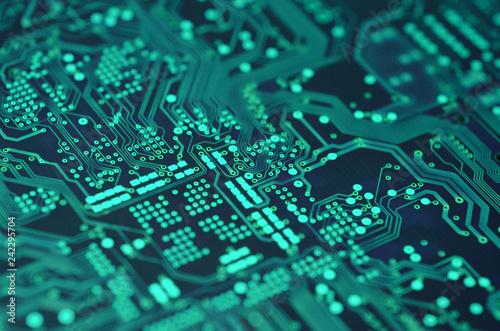 Fotografiet  closeup over electronic circuit board