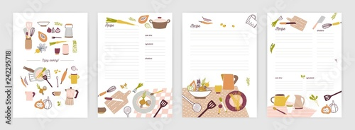 Fototapeta Collection of recipe card or sheet templates for making notes about meal preparation and cooking ingredients. Empty cookbook pages decorated with colorful crockery and vegetables. Vector illustration. obraz