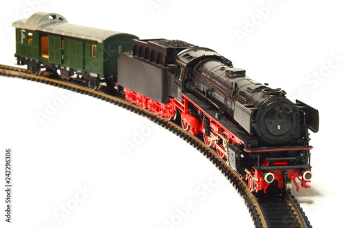 steam loco model train isolated on white - Buy this stock