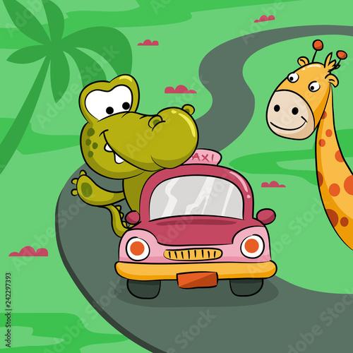 Cute Crocodile Driving a Litlle Car Illustration. - Vector