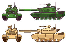Military Tank.Modern Military Equipment.Armored Artillery Vehicle.Tower Machine Gun.Cartoon War Green Camouflage Transport.