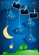 Surreal landscape with crescent moon, hanging stars and photo frames
