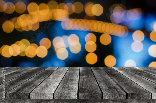 Fototapeta empty wooden board, table or modern wooden terrace with abstract night light bok