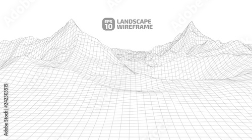 Tuinposter Lichtblauw Abstract wireframe background. 3D grid technology illustration landscape. Digital Terrain Cyberspace in the Mountains with valleys. Data Array. | EPS10 Vector.