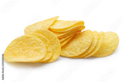 Fotografia, Obraz  Delicious potato chips, isolated on white background