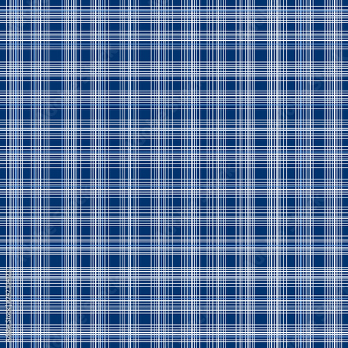 Photo  Blue and white chaotic tartan checkered seamless pattern, vector