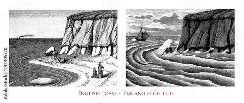 Vintage engraving of English Channel coast with the tidal sea waters variations Fototapeta
