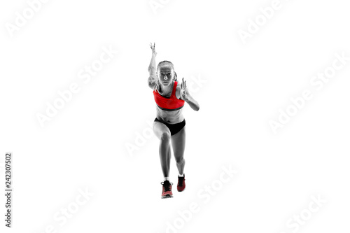 Fotografía  The one caucasian female silhouette of runner running and jumping on white studio background