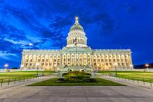 Utah State Capitol In Salt Lake City At Night