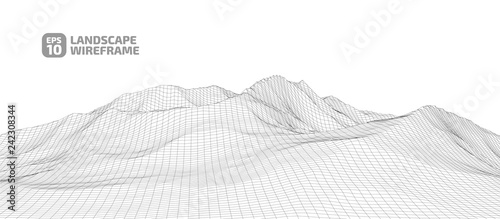 Foto auf Acrylglas Weiß Abstract wireframe background. 3D grid technology illustration landscape. Digital Cyberspace in the Mountains with valleys.