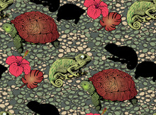 Pattern Of Wood, Turtle, Chameleon And Flowers. Vector Illustration. Suitable For Fabric, Wrapping Paper And The Like