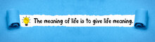 The Meaning Of Life Is To Give...