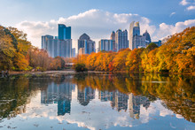 Atlanta, Georgia, USA Piedmont Park Skyline In Autumn