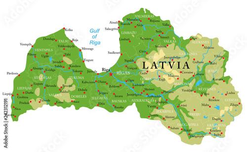 Fototapeta Latvia physical map