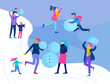 People dressed in winter clothes or outerwear performing outdoor activities fun. Snow festival. Christmas couple and family with kids making snowman, wintertime men and woman relaxing outdoors in park