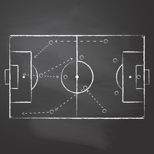 Drawn With Chalk The Football Pitch Markup And Tactical Scheme With One Team Players And Strategy Arrows On Black Rubbed Chalkboard. Vector Illustration Of A Soccer Game Tactical Scheme