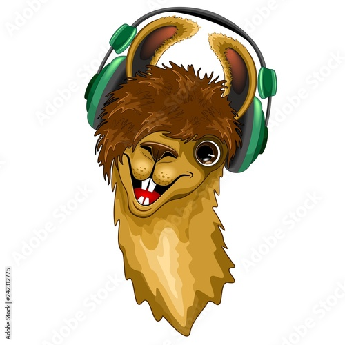 Poster de jardin Draw Llama Happy Music Dude with Headphones Vector illustration