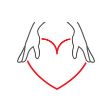 Vector Illustration Female Hands And Heart. Set Of Vector Symbols. The Woman Gives The Heart In A Reliable Charge Of The Beloved. Flat Design Monochrome