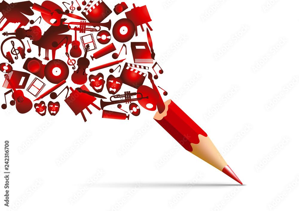Fototapeta Concept de l'espace culturel avec l'univers de la création artistique symbolisé par des pictogrammes qui s'échappent d'un crayon de couleur rouge.