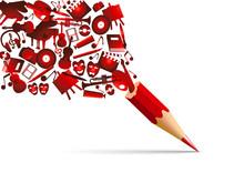 Concept De L'espace Culturel Avec L'univers De La Création Artistique Symbolisé Par Des Pictogrammes Qui S'échappent D'un Crayon De Couleur Rouge.