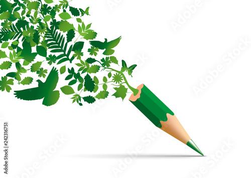 Photographie Concept de la protection de l'environnement avec des symboles de la nature qui s