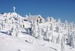 canvas print picture - Winter landscape, Winter, Landschaft, Schnee, Bayerischer Wald, Großer Arber, Textraum, copy space