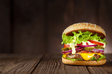 Delicious Burger With Bacon, C...