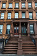 Old typical houses in Harlem, in New York City, USA