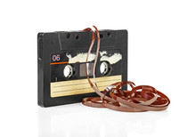 Audio Tape Cassette With Subtracted Out Tape On White Background