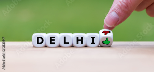 Foto op Plexiglas Delhi Thumbs up or thumbs down? Travel rating for the city of Delhi, India