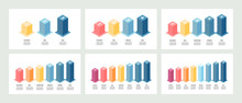 Isometric Infographics. Bar Chart, Graph With 3, 4, 5, 6, 7, 8 Steps, Options. Vector Template.