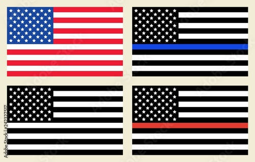 Photo  Vector US flags set