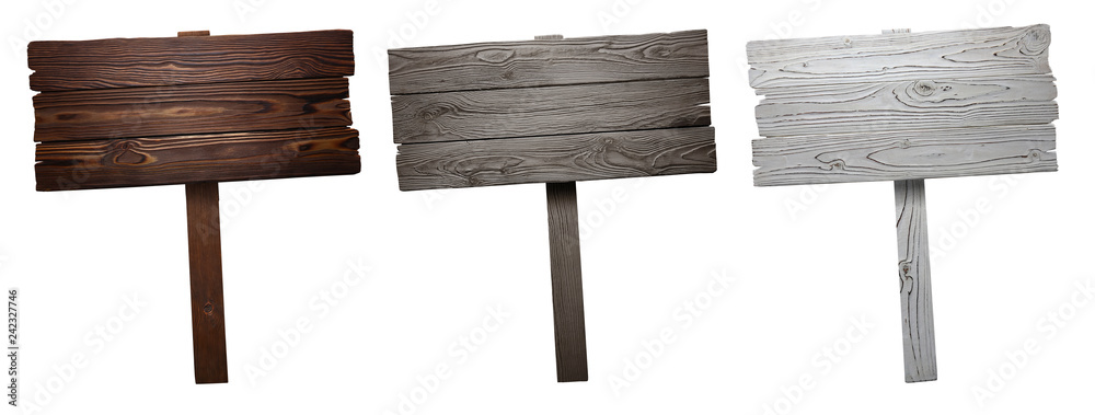 Fototapeta Set of wooden signs, isolated on white background