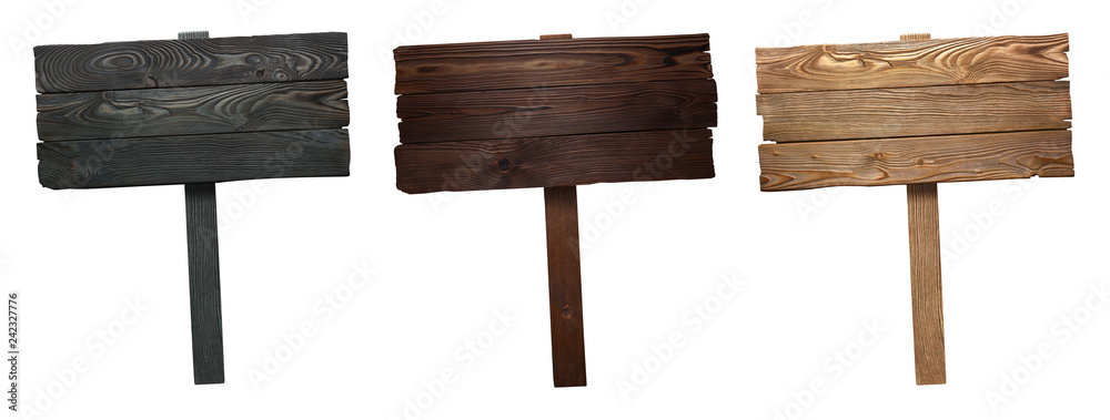 Fototapety, obrazy: Set of wooden signs, isolated on white background