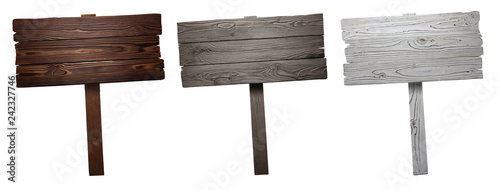 Obraz Set of wooden signs, isolated on white background - fototapety do salonu