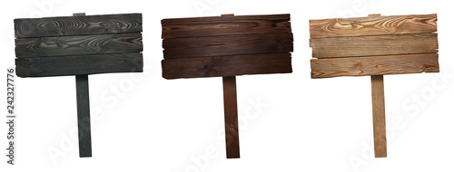 Fotografía Set of wooden signs, isolated on white background