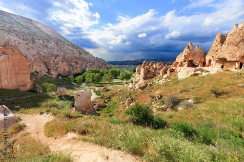 Fototapeta premium Droga gruntowa wije się między stożkowymi szczytami skał, starożytnymi jaskiniami na tle górskiego krajobrazu doliny w Kapadocji