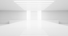 Empty White Interior. Fashion Podium. Catwalk Runway Stage. Elegance Pedestal Platform. 3D Rendering