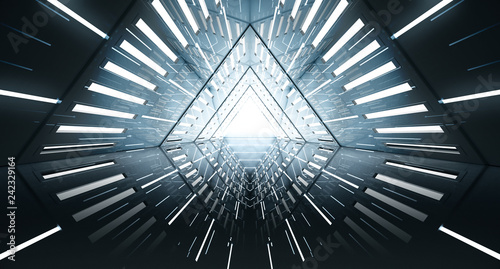 Fototapeta Abstract Triangle Spaceship corridor. Futuristic tunnel with light. Future interior background, business, sci-fi science concept. 3d rendering obraz