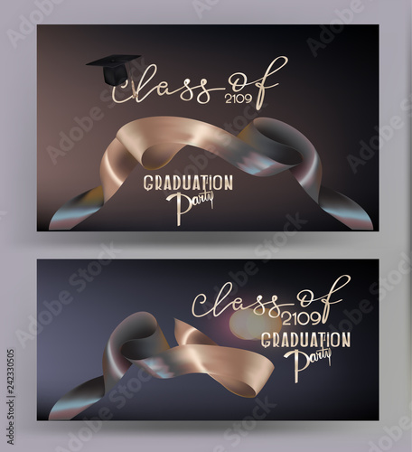Graduation party elegant banners with two colored levitating ribbons Wallpaper Mural