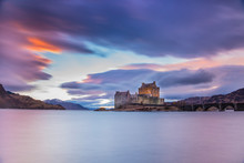 Eilean Donan Castle In The Highlands Of Scotland On The Way To The Isle Of Skye - Sunset Scenery