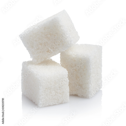 Obraz na plátne Close-up of three white sugar cubes, isolated on white background