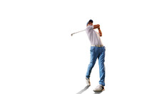 Male Golf Player On White Back...