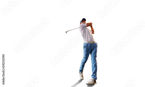 Leinwand Poster Male golf player on white background
