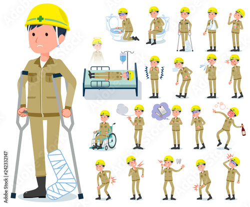 Fototapeta flat type helmet worker men_sickness