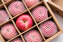 Red Apples In Paper Box