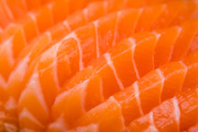 Sliced Salmon Sashimi Close Up