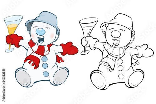 Vector Illustration of a Cute Snowman Cartoon Character. Coloring Book