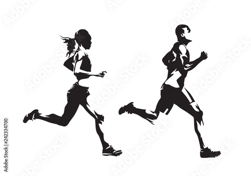Fotomural Running man and woman, ink drawings, isolated vector silhouettes