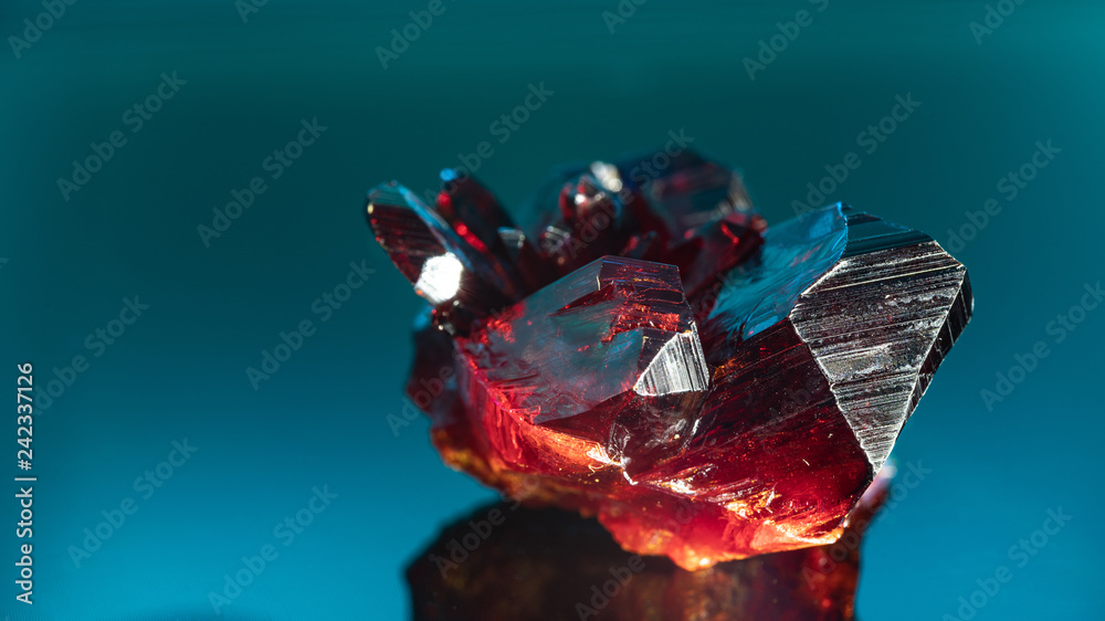 Fototapety, obrazy: Natural raw red crystal. Natural red precious mineral stone